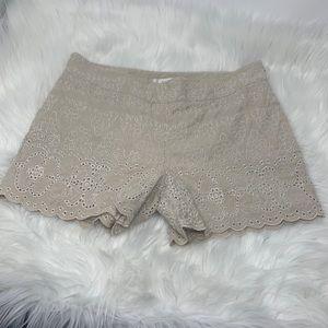 Anthropologie Elevenses Tan Scalloped Hem Shorts